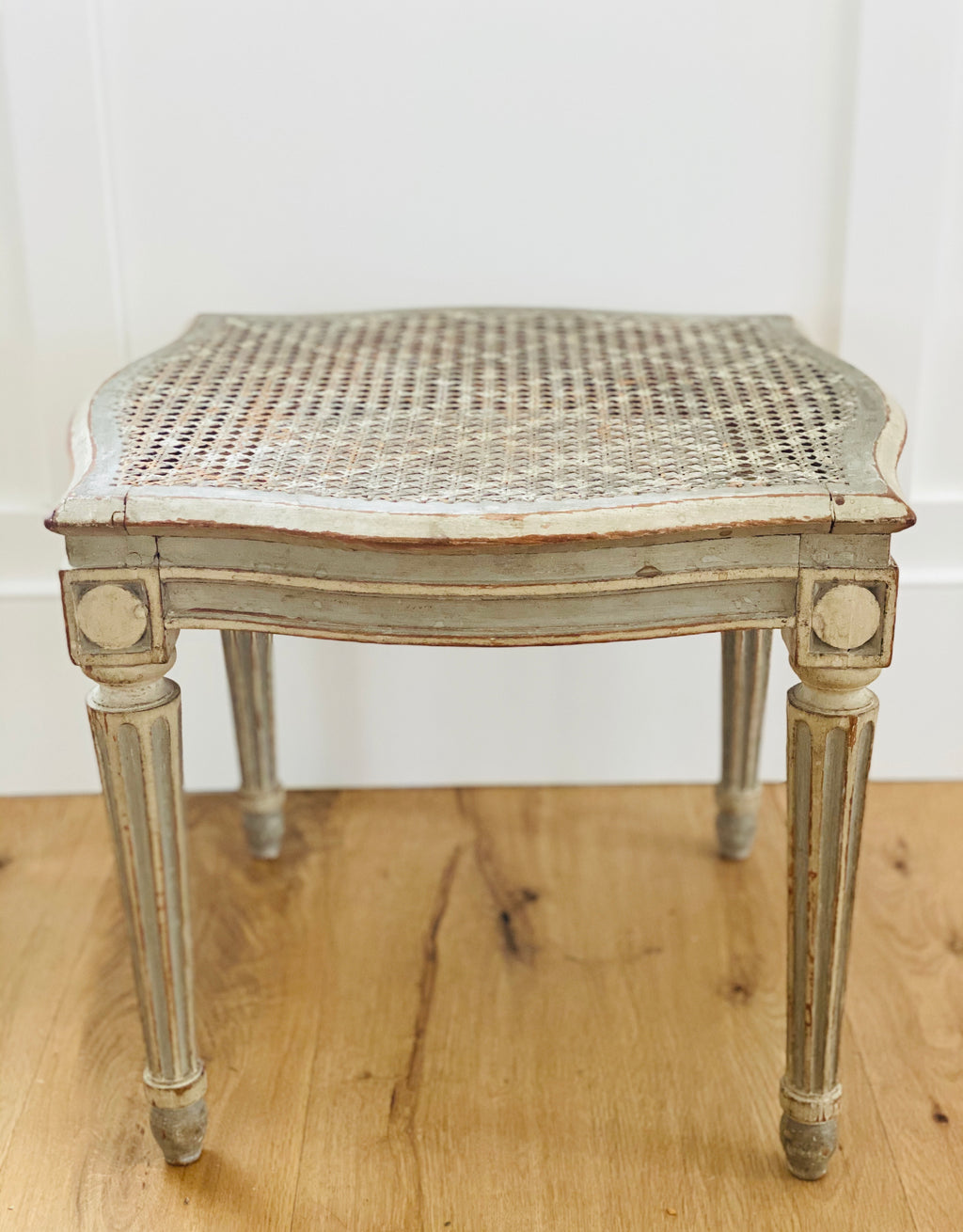 French Gray Painted Stool with Cane Top