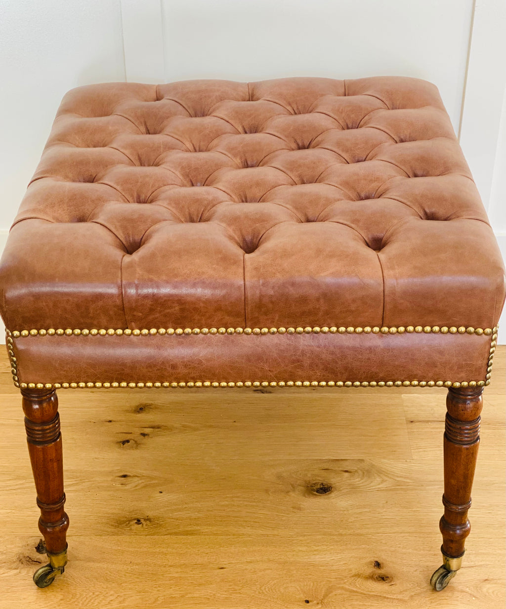 Antique English Bench with Tufted Leather Top