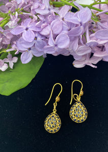 Vintage Gold Sapphire Drop Earrings