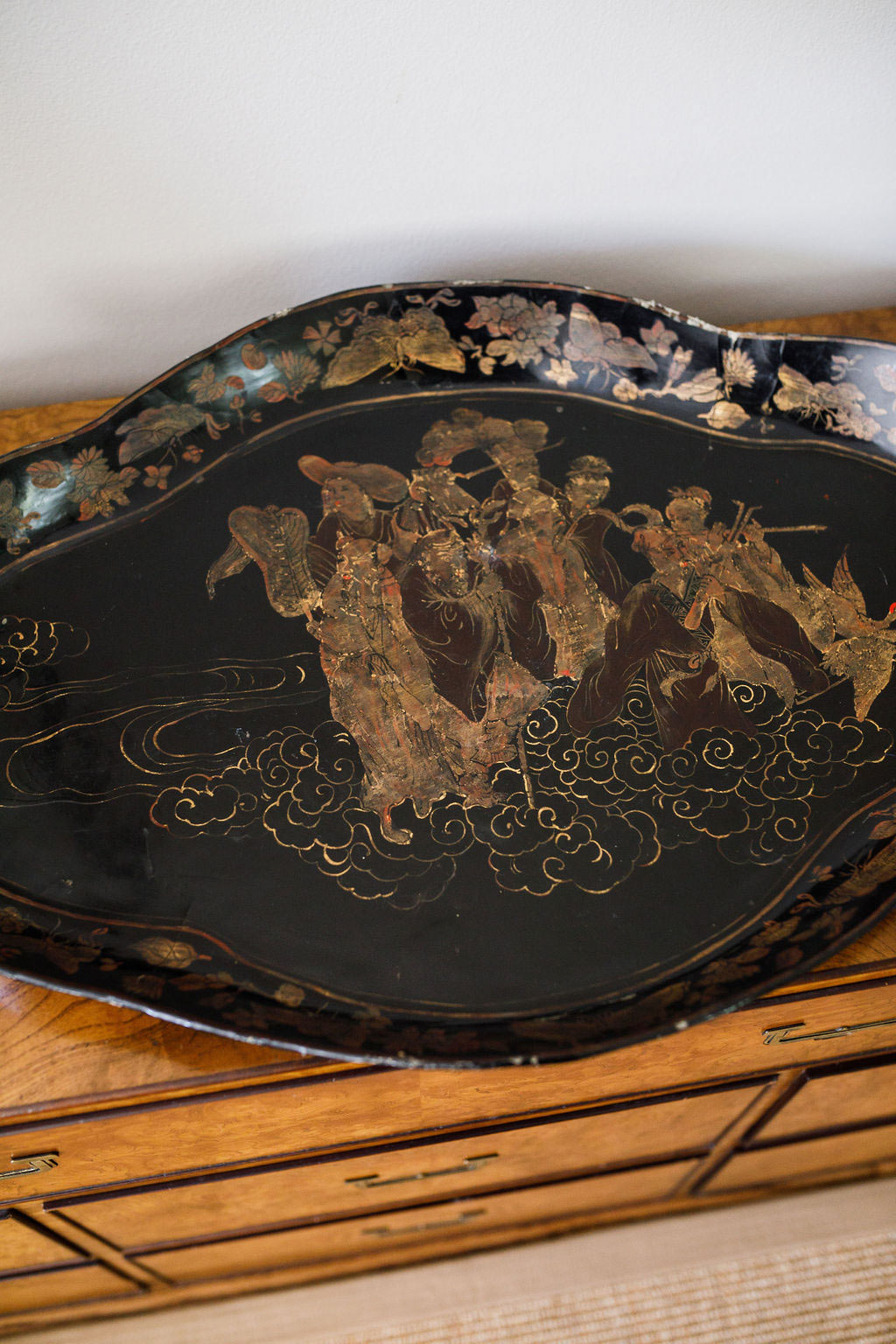 English Papier Mache and Lacquer Chinoiserie Tray