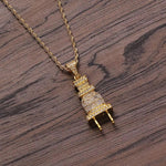 Silver And Gold Plated Zircon Stoned Plug Pendant