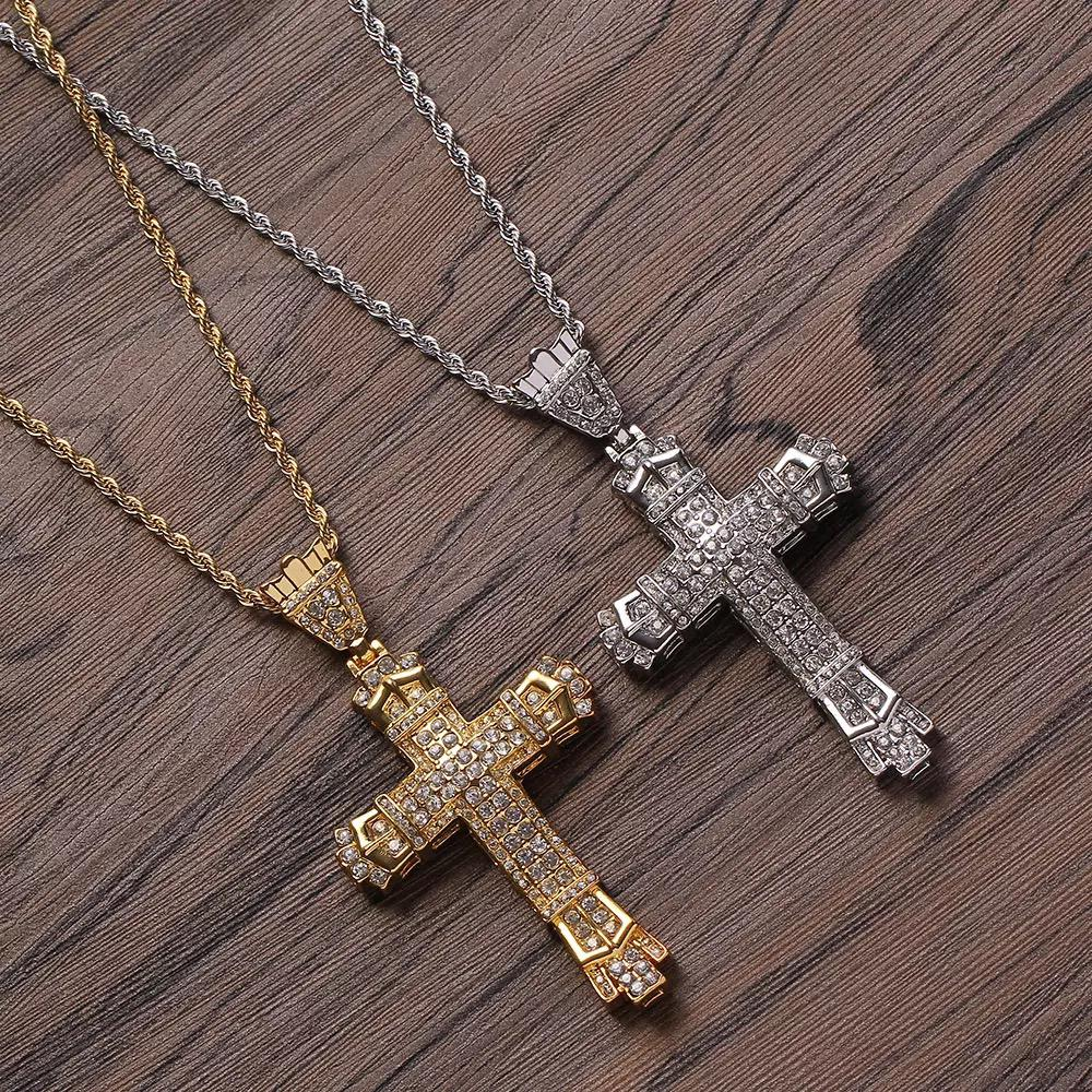 Silver And Gold Plated Zircon Stoned Cross Pendant
