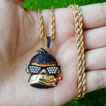 Zircon Stoned Gold Plated Monkey Pendant