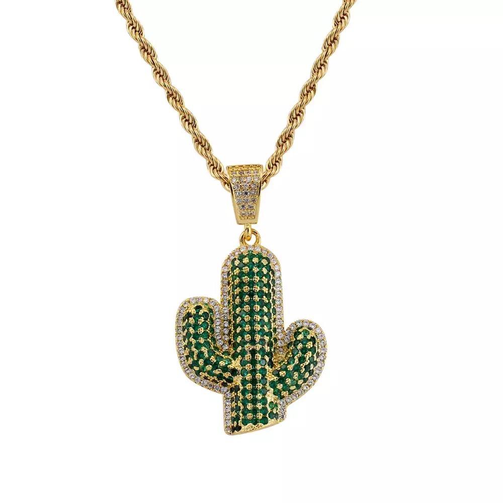 Zircon Stoned Gold Plated Cactus Pendant