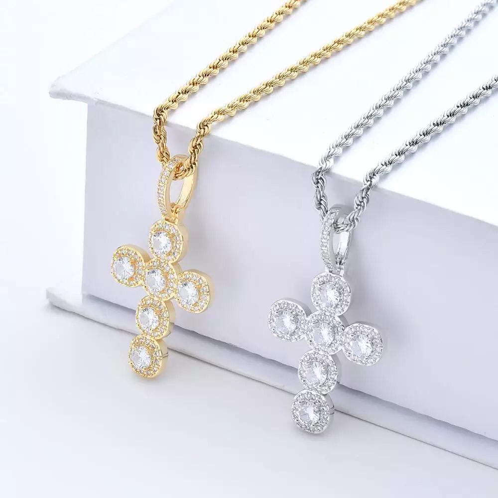 Zircon Stoned Gold Plated Cross Pendant