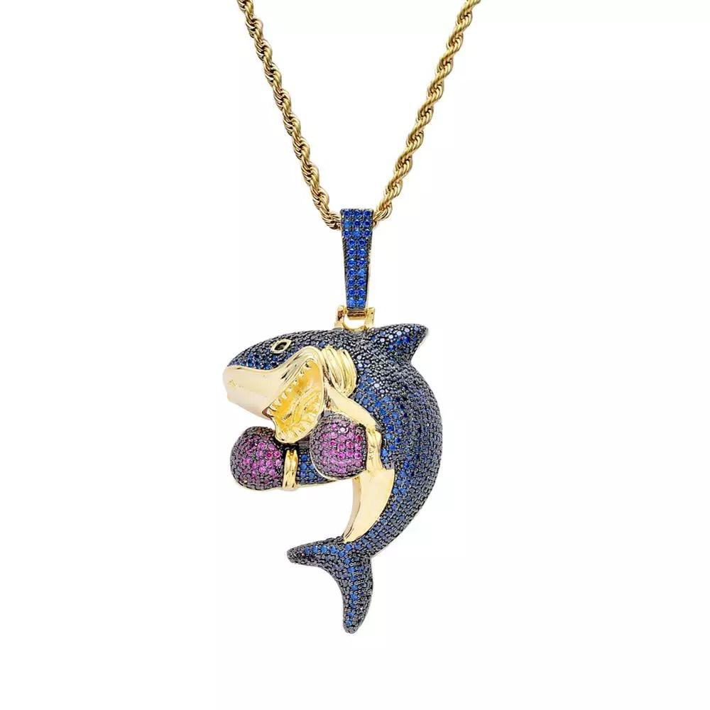 Zircon Stoned Gold Plated Shark Pendant