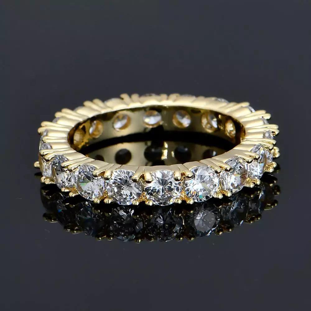 One Row Men and Women Cubic Zircon Iced Ring