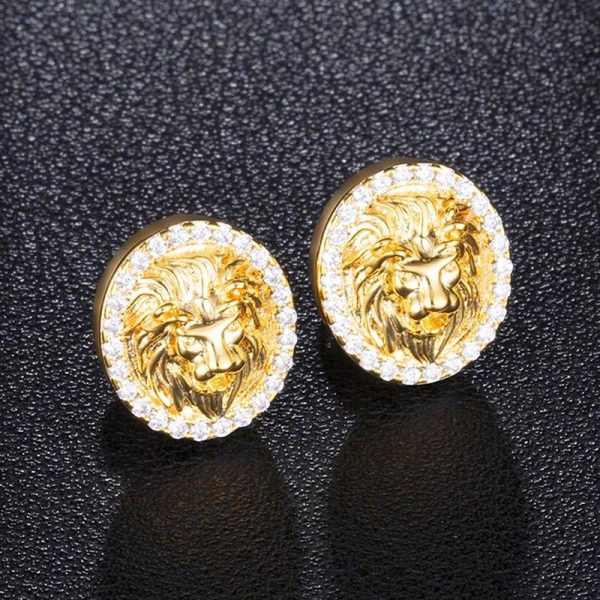 Round Cubic Zircon Iced Out Lion Head Earring