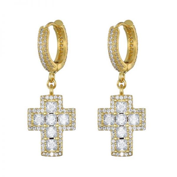 Zircon Stoned Iced Out Cross Earring