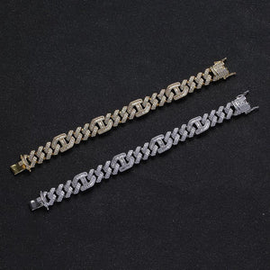 15mm Prong diamond Baguette Curb Bracelet