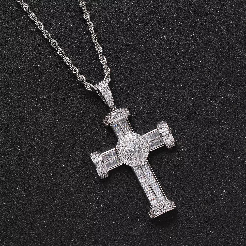 Gold Plated Hand Sitting Zircon Stone Cross Pendant