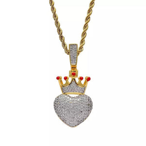 Zircon Stoned Gold Plated Crown Heart Pendant