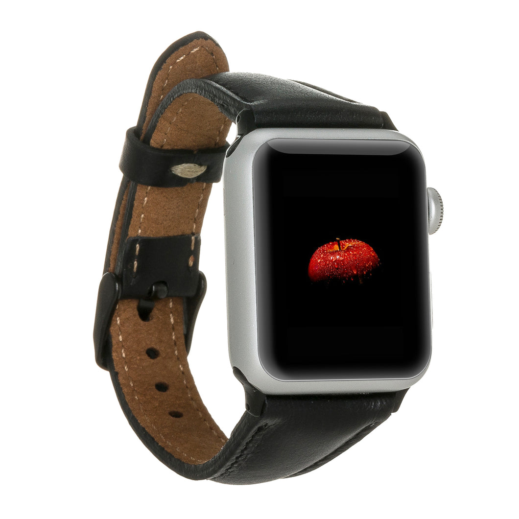"Apple Lederarmband ""Slim"" (Series 1-6) (Schwarz)"