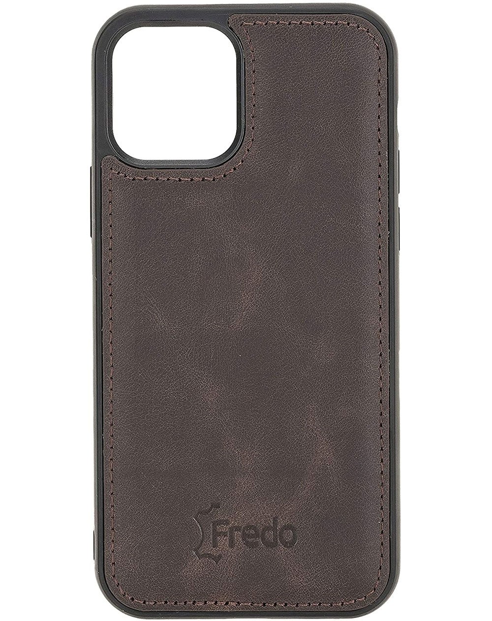 FREDO Lederhülle kompatibel mit iPhone 12 (6.1 - 5.4 - 6.7) Zoll Reflex Ultra Slim Cover Handyhülle für Apple iPhone 12 (6.1 - 5.4 - 6.7) inch Handytasche/Hand Made/-Vintage Braun-iPhone 12 Pro (6.1 Zoll)-0