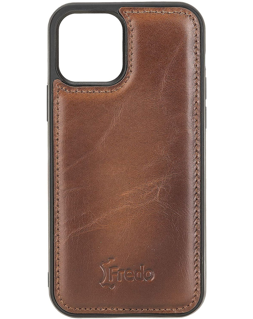 FREDO Lederhülle kompatibel mit iPhone 12 (6.1 - 5.4 - 6.7) Zoll Reflex Ultra Slim Cover Handyhülle für Apple iPhone 12 (6.1 - 5.4 - 6.7) inch Handytasche/Hand Made/-Cognac Braun-iPhone 12 (6.1 Zoll)-0