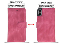 Lade das Bild in den Galerie-Viewer, iPhone X/XS Hülle Leder Abnehmbare 2 in 1 Handyhülle Rosa-2702