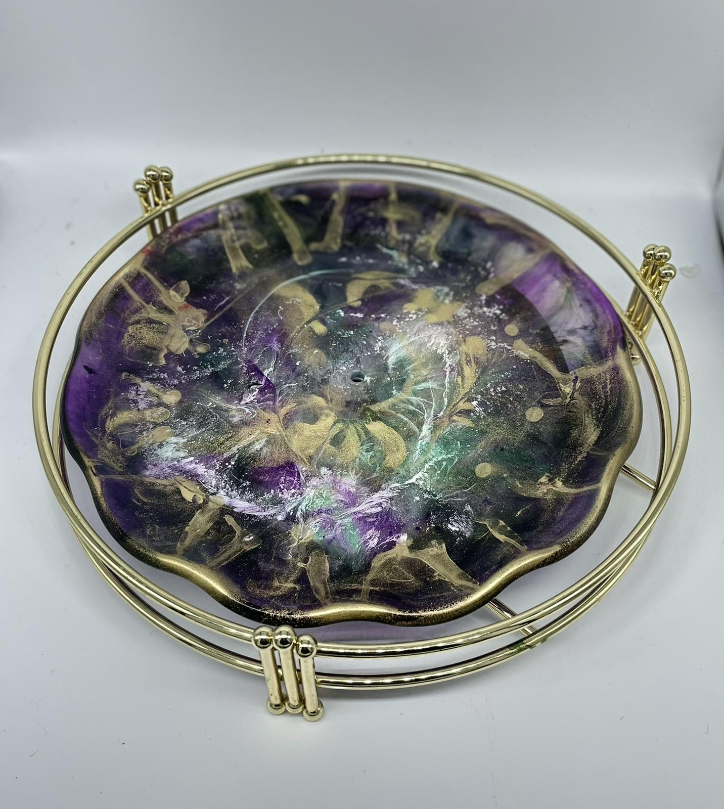 DECORATIVE TRAY - PURPLE AND GOLDEN