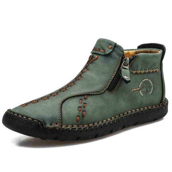 Side Zipper Men Hand Stitching Boots Handmade Casual Leather Shoes