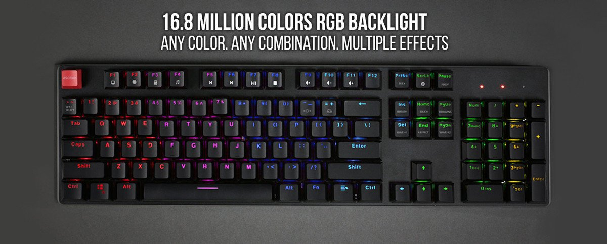 Our keyboard includes RGB LED lights with 18 pre-installed effects and 1 slot for user-defined effect.