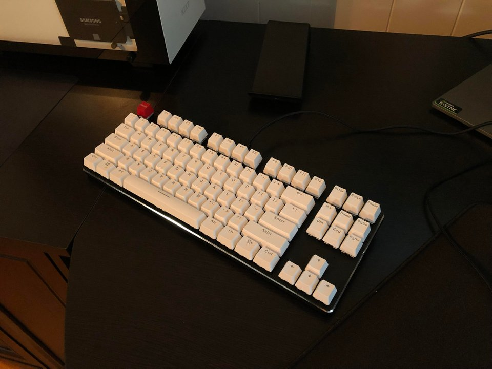 Glorious modular mechanical keyboard with white keycaps