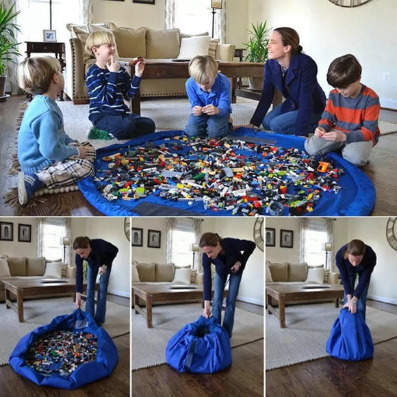 1.5M Kids Play Mat Toy Storage Bags oversized Cleanup Organizer Play Mat Durable Lego toy Storage Bag Outdoor Building Blocks Ma