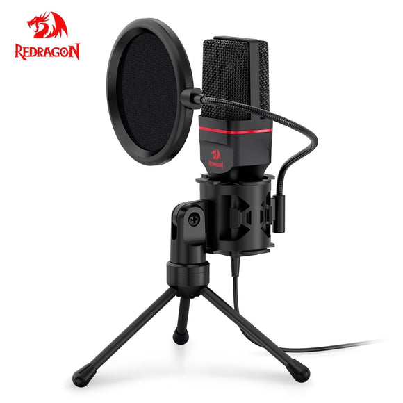 Redragon Omni Condenser Microphone With Tripod Audio 3.5mm Computer Studio Microphone For PC Phone Karaoke Recording phone
