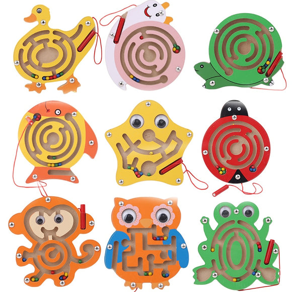 Children Wooden Educational Montessori Toys Magnetic Maze Handwriting Pen Push Beads Small Animals Labyrinth Track Toys For Kids