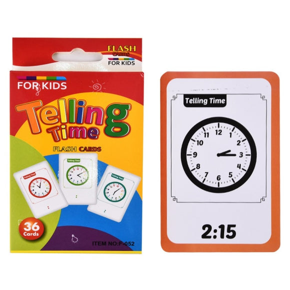 Clock Time Number Alphabet Learning Card Telling Time Flash Cards Early Children Preschool Mathematics English Educational Toys