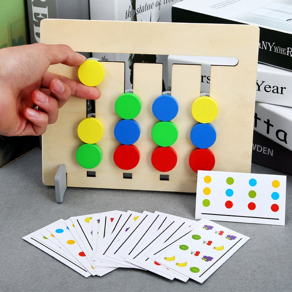 Kids Montessori Educational Wooden Toys Four Colors and Fruit Double Sided Pairing With Card Children Logical Reasoning Game Toy