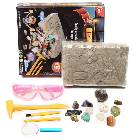 Kids Archaeological Excavation Toys Gemstone Dig Stem Science Kit DIY Mining Excavation Toys For Boys Girls Gift