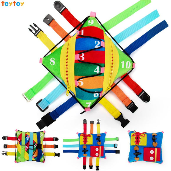 teytoy Busy Board for Toddlers - Sensory Buckle Pillow Toy Activity, Children Educational Learning Toys (12 Basic Skill)