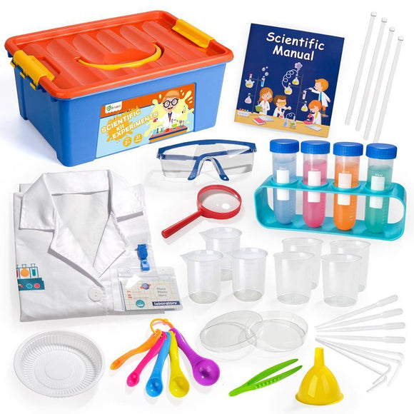 D-FantiX Kids Science Experiment Kit, 36Pcs Pretend Play Science Kit with Lab Coat Laboratory Set STEM Toys for Kids Aged 3 4 5 - STEM K12