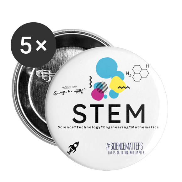 STEM logo Buttons large 2.2'' (5-pack) - white
