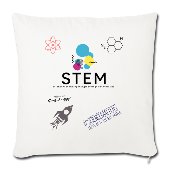"STEM Logo Throw Pillow Cover 18"" x 18"" - natural white"