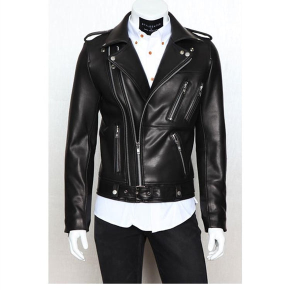 Mens Leather Jacket  2019 Autumn Winter New Style  Men's Motorcycle Leather Garment Multi-zipper Lapel Brief Design