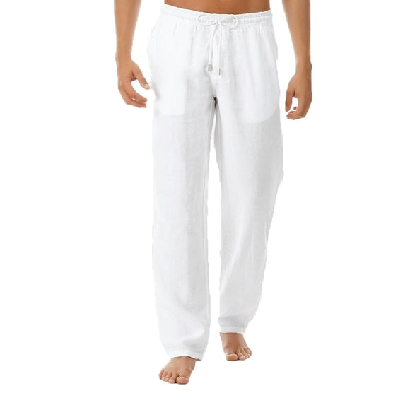 New Top quality Men's Summer Casual Pants Natural Cotton Linen Trousers White Linen Elastic Waist Straight Men's Pant