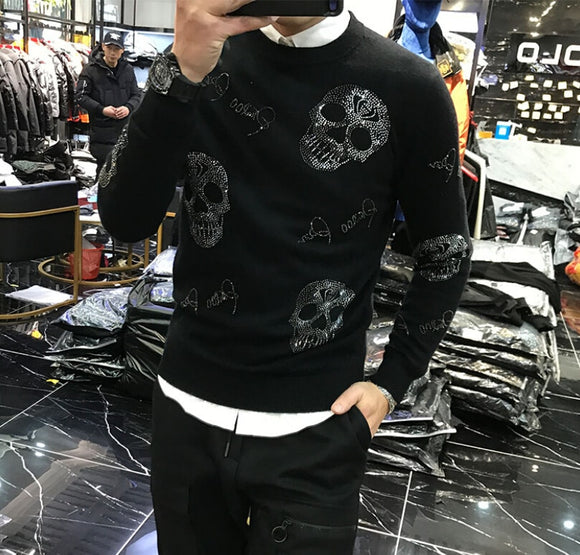 Men's 2020 winter Korean style personality fit fashion brand skull heavy technology hot drilling sweater man