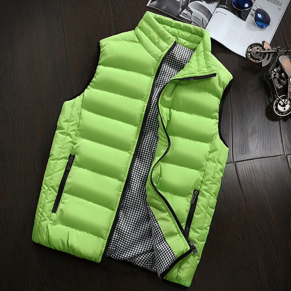 Brand Clothing Cotton-Padded Big Siz Men's Vest Men Waistcoat Mens Jacket Sleeveless Vest Winter Fashion Casual Slim Coats