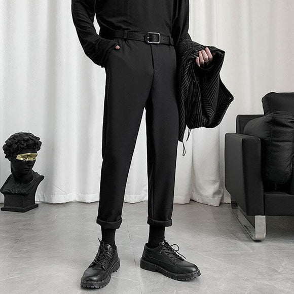 Summer Black Casual Pants Men's Slim Fashion Business Straight Dress Pants Men Streetwear Wild Suit Pants Men M-3XL