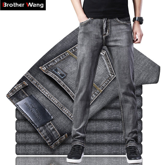 classic men's jeans high quality Business Casual Elastic Denim trousers male Brand Grey Pants