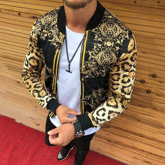 New 2020 Cross-Border European And American Men's Autumn Men Slim-Fitting Leopard Print Crew-Neck Casual Jacket Coat Male 4XL