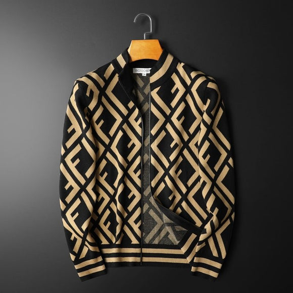 Men's knitted cardigan Europe station personalized fashion men's Korean zipper sweater jacket men's wear