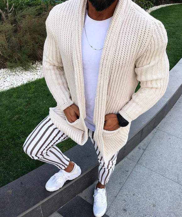 Thick Men's Wool Cardigan Autumn Winter Fashion Long Sweaters Knitted Cotton Casual Male Jackets With Pocket