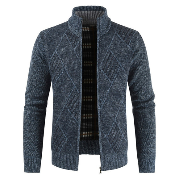 2021 New Geometric Knitted Men Cardigan Casual Streetwear Zipper Regular Sweater Men Long Sleeve Warm Men's Sweater Jacket