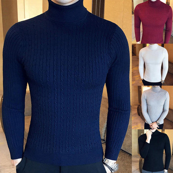 Autumn Winter Men Turtleneck Sweater Slim Pullover Twist Knitwear Black Wine Red Pullover Sweater Men's Turtle Neck Sweaters