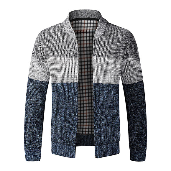 Hot Sale Men's Cardigan Casual Cotton Thick Cardigan Sweater Long Sleeve High Quality Striped Stitching Jacket Collar Top