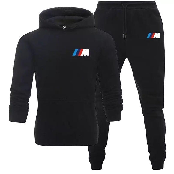 New 2 piece set BMW brand winter print men's sweater pants clothing suit men and women solid sportswear pants suit women sportsw