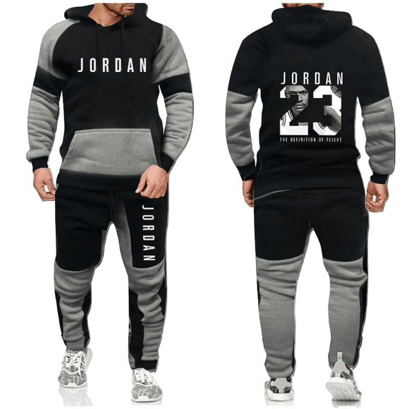 2020 men's warm and plush sweater, fashion Sweatshirt set, Sweatshirt Hoodie + sports pants set, leisure splicing set