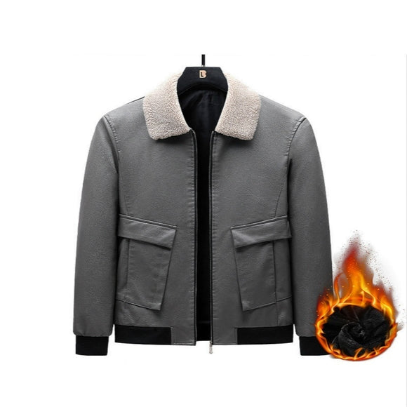 Leather Winter Men's PU Jacket Mens Fleece Fur Collar Motorcycle Casual Outdoor Jaqueta Leather Coats New Casual Lapel Slim Fit
