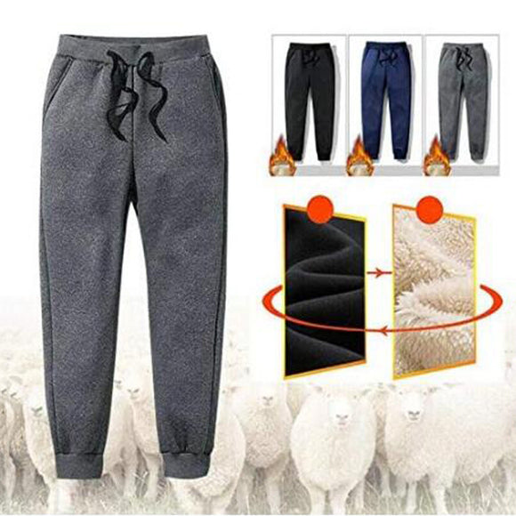Fashionable Men's Thermal Fleece Pockets Thickened Fleece Lined comfortable and soft Женские штаны Casual Sports Trousers Pants